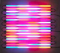 LEO VILLAREAL Chasing Rainbows (Horizontal) 2006, light emitting diode tubes, custom software, electrical hardware, 48 x 48 x 4 inches
