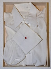 JOHN KIRCHNER Untitled (shirt) 2007, white shirt with embroidery and balsa wood, 15 x 12 x 3 inches.
