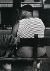 Lisette Model - Circus Man, Nice, 1933-1938 Gelatin silver print, printed c. 1970s 14 1/8 x 9 7/8 inches ; Bruce Silverstein Gallery