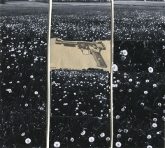 Gun in Landscape: Daisies, 1965, 	Collage mounted to board