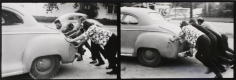 Eve Sonneman - Pushing, Houston, 1971 Gelatin silver print mounted to board, printed c. 1971 | Bruce Silverstein Gallery