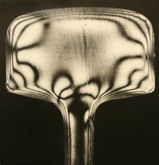 Werner Bischof - Stress Patterns of a Piece of Molded Celluloid Visible Under Polarized Light, 1944 Gelatin silver exhibition print mounted to masonite | Bruce Silverstein Gallery