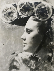 Profile Portrait with Glasses and Hat, c. 1930, 	Gelatin silver print with photogram effect, printed c. 1930