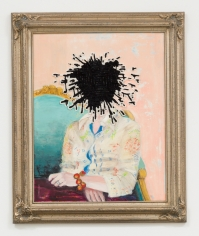 Miyoshi Barosh Paintings for the Home (Portrait), 2010 Oil on canvas, embroidered canvas, frame 35 X 29 in.