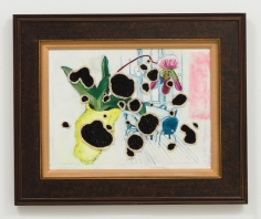 Miyoshi Barosh Paintings for the Home (Still Life), 2010 Oil on canvas, embroidered canvas, frame 28 x 34 in.