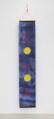 "A hanging banner made of silk and organza that is blue, printed with wood-grain, with 2 yellow dots (1/3 from the bottom, 1/3 from the top. The words ""to hang fruit / to hook leaves / to house seeds"" are above and below the yellow dots"