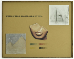 "A mixed-media collage of a broken Egyptian sculpture, a model of light through a prism, a nondescript image of a mountain, and the text ""Sphinx of Black Quartz, Judge My Vow"""