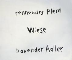 """Rennendes Pferd – Wiese - hauender Adler (Running Horse – Meadow – Striking Eagle)"", 1966"
