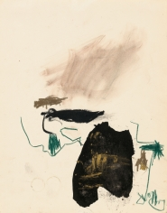 """""""Untitled"""", 1989 India ink, gold pigment, wax crayon on paper"""