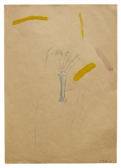 """""""Untitled"""", 1963 Ballpoint pen, gouache, colored lacquer on paper"""