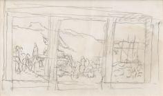 """""""Petite étude de composition pour Sainte Geneviève ravitaillant Paris (Small compositional study for Saint Genevieve Provisioning the Parisians)"""", ca. 1895-1896"""