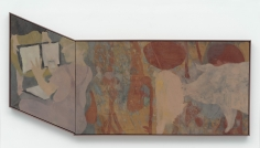 """""""Untitled"""", 2014 Oil, enamel, oil crayon and linseed oil on linen 46 3/4 x 95 1/4 inches 119 x 242 cm   KAL 9"""