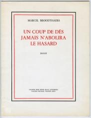"""Marcel Broodthaers """"Un Coup de Dés jamais n`abolira le Hasard"""", 1969"""