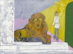 """Junior/Lion"", 2017 Oil, distemper on linen"