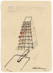"""""""Sculpture, wooden framework with clothespins, random items can be attached to the clothespins"""", 1968"""
