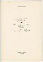 """Marcel Broodthaers """"Plan vert - La porte est ouverte"""", 1972"""