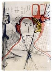 """Untitled"", 1968 Pencil, felt-tip pen on lined paper"