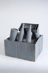 """Standart-Modell"", 1972-1973 Cardboard, glass bottles, string, cans, paint"