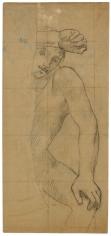 """""""Homme à demi caché par un arbre (étude pour Sainte Geneviève en prière) (Man Half-hidden by a Tree [Study for Saint Genevieve in Prayer])"""", ca. 1876-1878"""
