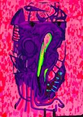 """FinkF"", 2014 Acrylic gouache and ink on canvas"