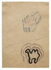 """Untitled"", 1967 Ballpoint pen, ink, gouache on paper"