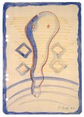 """Untitled"", 1971 Watercolor, felt-tip pen on graph paper"