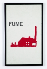 """Fume"", 1972 Letter press and paint on canvas"