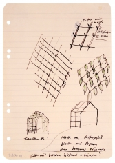 """""""Garden Shed: Shack made out of slat frames, leaves made from paper. Use real leaves in the summertime. Affix leaves with large gaps. Slats with nails to affix the leaves."""", 1968"""