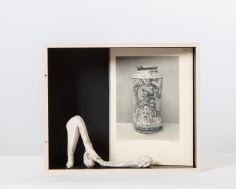 """Untitled"", 2017 Jesmonite, graphite, archival print, wood and vinyl"