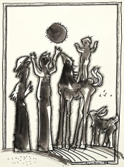 Khouzayma Alwani, Untitled, 1999, Ink on canson paper, 35.5 x 26.5 cm