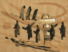 Fateh Moudarres, Untitled, 1981, Watercolor on paper, 29.5 x 38.5 cm