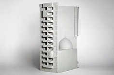 Nazgol Ansarinia in collaboration with Roozbeh Elias-Azar, Fabrications.Commercial high rise/ mosque with turquoise dome on Molasarda street, 2013