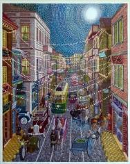Khaldoun Chichakli, Al Sanjakdar Street and Night Lights Ornaments in Past Days, 2006, Watercolor on paper, 42.7 x 35 cm