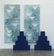 (Background)Kamrooz Aram,Untitled, 2017, (Foreground) Kamrooz Aram,Ancient Blue Ornament, 2017