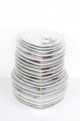 Nazgol Ansarinia, Mendings (plates), 2012, China plates and glue, Dimensions variable