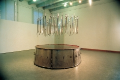 Hale Tenger, The School of Sikimden Assa Kasimpasa, 1990, Galvanized sheet iron, lead, sword, tap, water, dye, diam, Dimensions variable