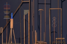 Ana Mazzei, Spectacle (Espetáculo)(detail), 2016, Wood, paint, felt, rubber, iron, 4.50 x 14.5 x 4.50 m
