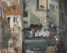 Daniel Pitin, Mirroring, 2012, Oil, acrylic, candle smoke and paper glued on canvas