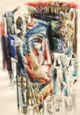 Elias Zayat, Poem, 2001, Mixed media on paper 52 x 75 cm