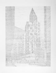 Seher Shah, Single Utopias (Nakagin I, Tokyo), 2017, Graphite on paper, 165 x 127 cm