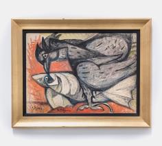Samir Rafi, Oiseau Noir et Poisson Blanc,1958