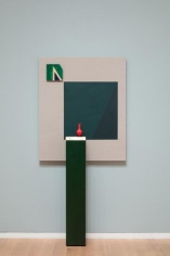 Kamrooz Aram, Green Movement, 2018, Panel: oil and pencil on linen; Pedestal: wood, brass, terrazzo; Ceramic, Dimensions variable