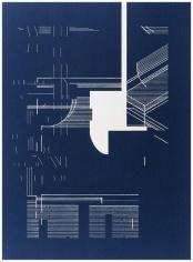 Seher Shah and Randhir Singh, Studies in Form, Flatlands Blueprints (detail), 2018, Cyanotype prints on Arches Aquarelle Paper, 38x 28cm