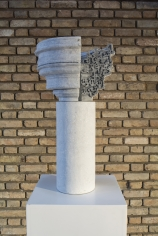 Nazgol Ansarinia, Article 47, Pillars, 2015, Paper paste and cardboard, 65 x 35 x 35 cm