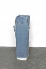 Alessandro Balteo-Yazbeck, Instrumentalized #26, 2017, Worn and stained washed jeans, semi-stretched around plinth