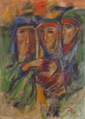 Elias Zayat, Palmyrian Morning Song, 2015, Acrylic on canvas, 100 x 73 cm