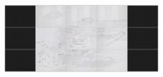 Seher Shah, Flatlands (Scrim), 2015, 15 - panel drawing, Ink on Paper, 236x 546 cm