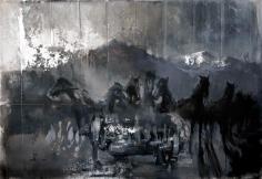 Zsolt Bodoni, Horses, 2012, Acrylic and oil on canvas, 135 x 195 cm