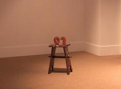 Judith Sönnicken, Backup, 2013, Clay, copper, wood, metal, 57 x 28 x 37 cm