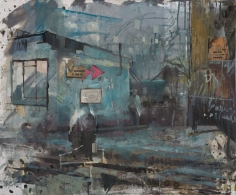 Daniel Pitin, Morning Train, 2012, Oil, acrylic, candle smoke and paper glued on canvas